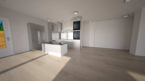 Built Prefab Holiday Modular Home Kitchen Rendering