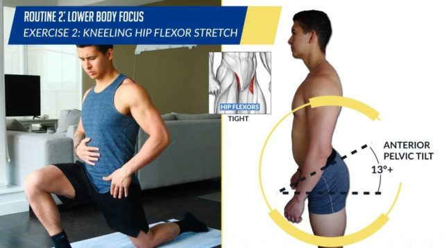 Posture correction routine exercise kneeling hip flexor stretch