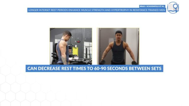 Rest periods for isolation exercises should be roughly 60 to 90 seconds