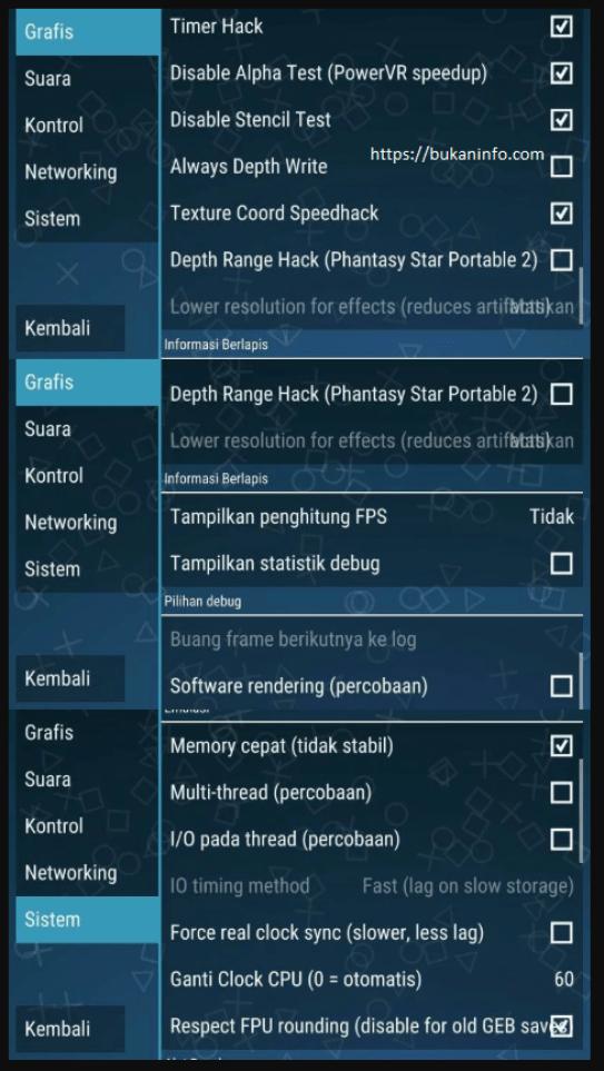 cara setting ppsspp v1.5.4 agar tidak lag