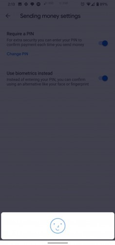 Google Pay version 2.100 biometric options