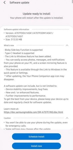 Samsung Galaxy A70s gets 'Link to Windows' and Type-C headset support with first update