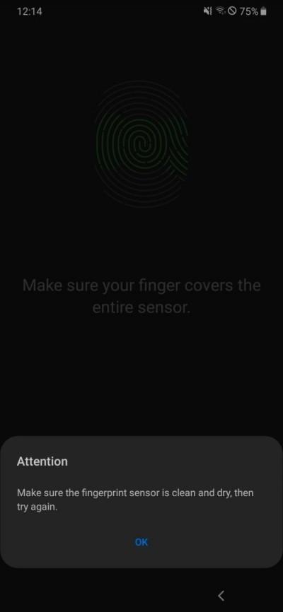 Fingerprint enrollment bug