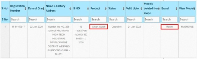Redmi smart watch is incoming (just got BIS certification), may actually be a smart band