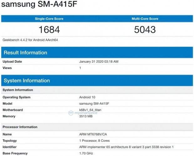Samsung Galaxy A41 appears on Geekbench with Helio P65 SoC
