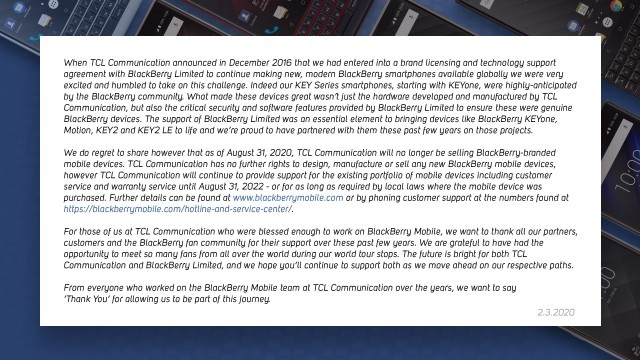 BlackBerry Mobile's thank you letter to TCL