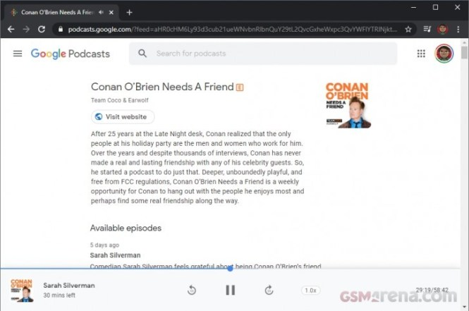 Google Podcasts is now available on the web
