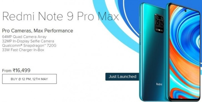 Redmi Note 9 Pro Max sales begin on May 12 in India