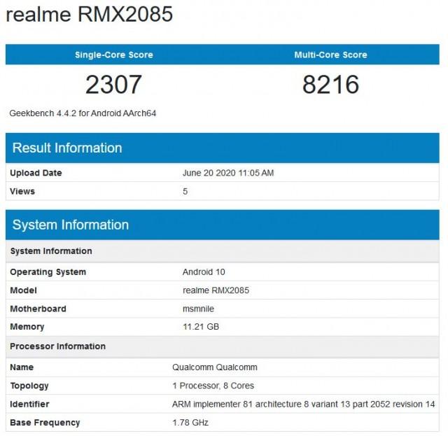 Realme X3 GeekBench run