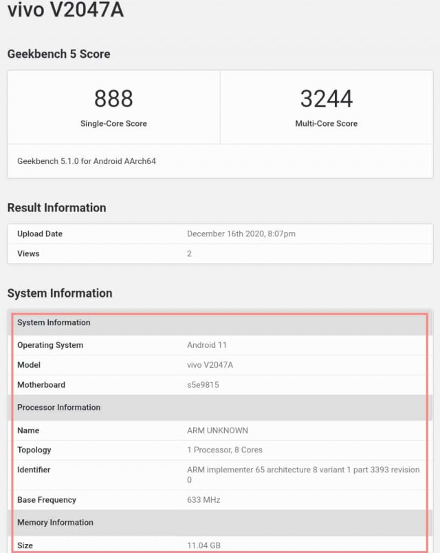 vivo X60 with Exynos 1080 on Geekbench