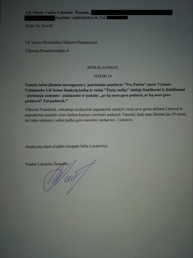 laiškas pranckiečiui bvg