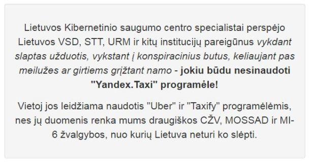LDiena pastebėjimas yandex taxi