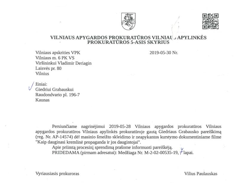 Generalinė Prokuratūra ikiteisminis Laisvės televizija laisvės TV Tapinas Ramanauskas Miliūtė.PNG