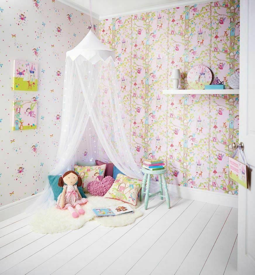 Woodland Fairies Glitter Girls Bedroom Wallpaper White ...
