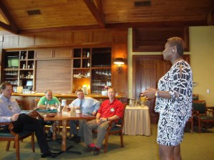 Bukola Oriola presenting at the Blaine/Ham Lake Rotary