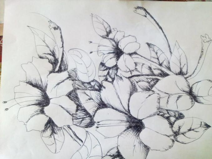 lukisan gambar bunga