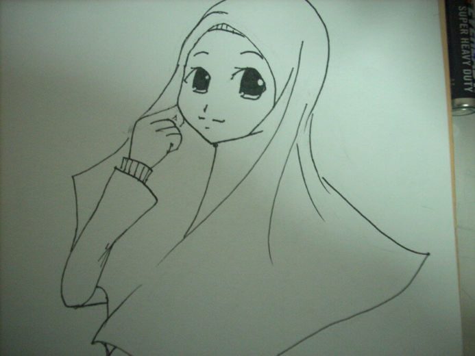 Gambar sketsa wajah cantik