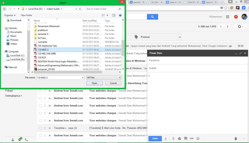 cara melampirkan dan mengirim file lewat gmail