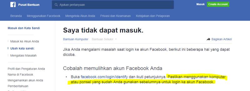 Saran penting dari laman Pusat bantuan facebook