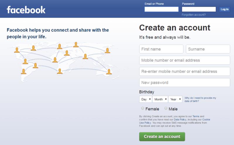laman awal untuk daftar facebook