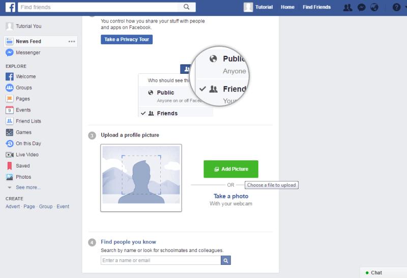 upload photo profil kamu setelah berhasil membuat akun facebook baru