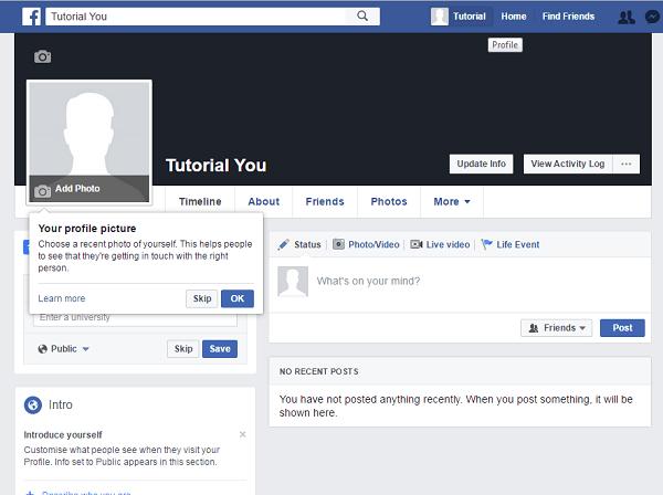 laman profil kamu di fb (bisa dilihat oleh publik)