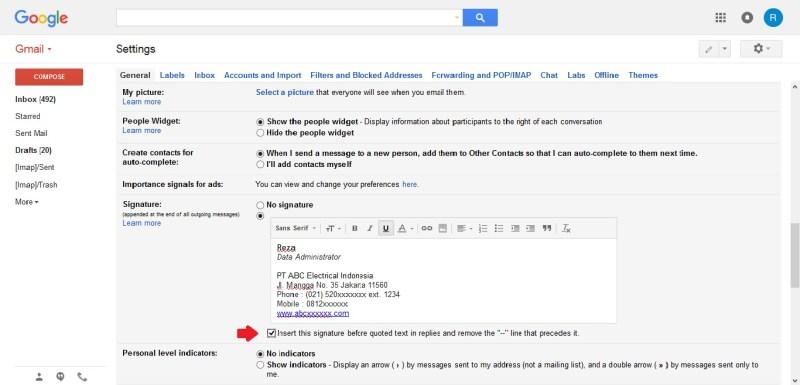 Cara membuat tanda tangan digital atau signature pada email Gmail