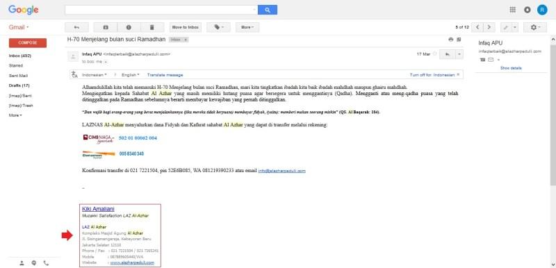 Contoh Signature atau tanda tangan digital pada email Gmail