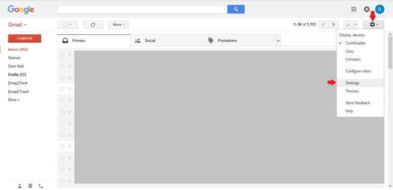 Klik Settings untuk buat tanda tangan digital di email Gmail