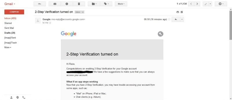 Email verifikasi akun Google