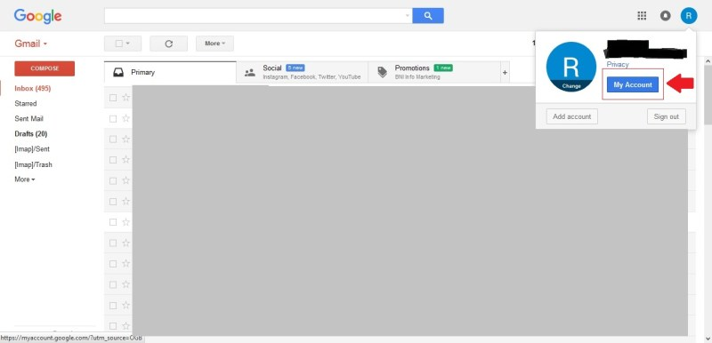Masuk ke My Account pada akun Google