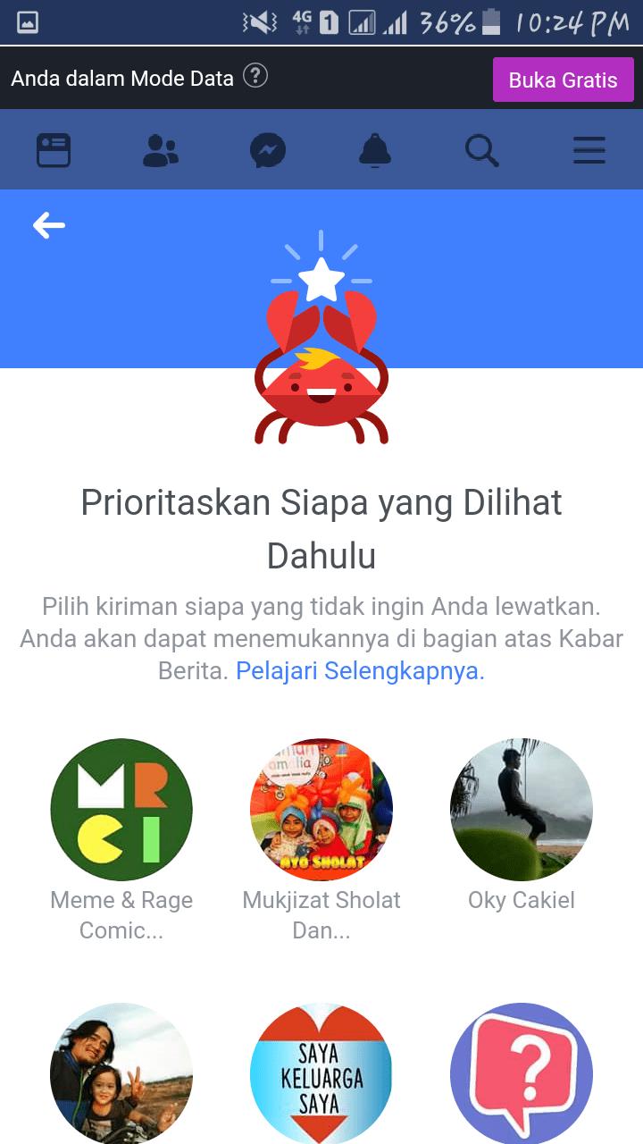 Cara menghapus daftar akun prioritas dari facebook