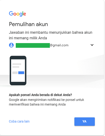 proses reset password google dengan google prompt