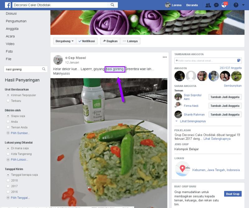 fitur penyaringan atau filter di pencarian facebook
