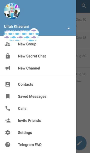 tampilan aplikasi telegram