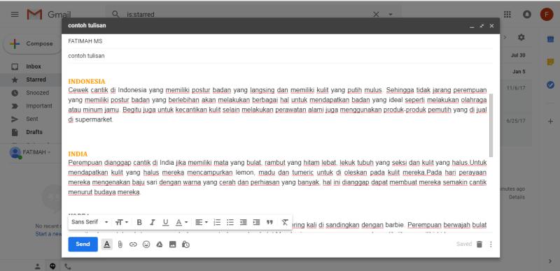 Email menggunakan efek text color