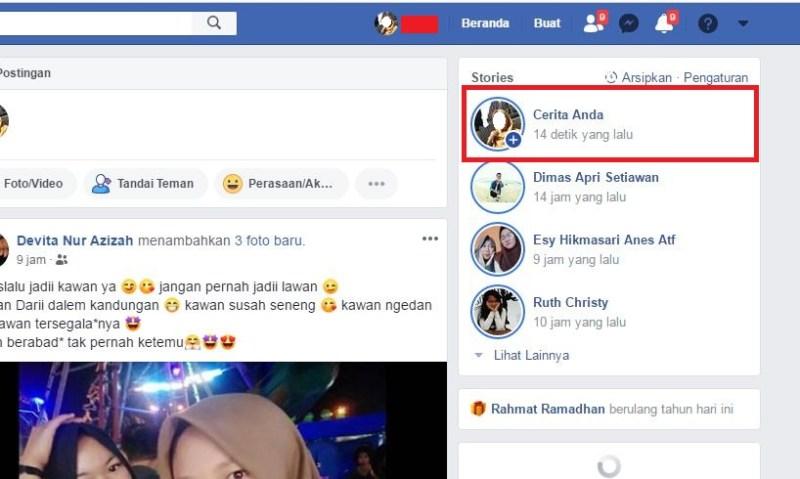 Tampilan saat berhasil mengunggah stories Facebook