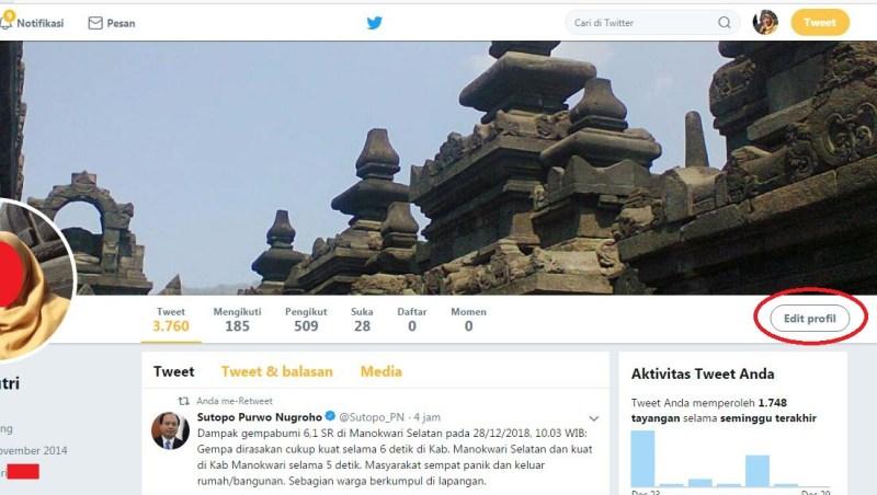 Editing profil Twitter