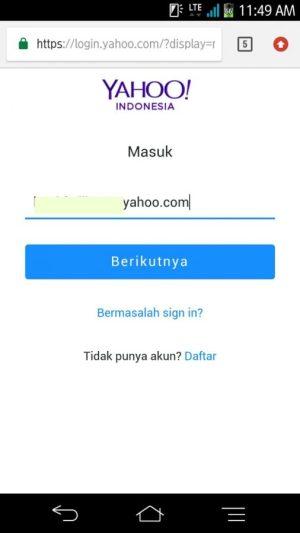 Gambar 1. Ketik alamat email Yahoo