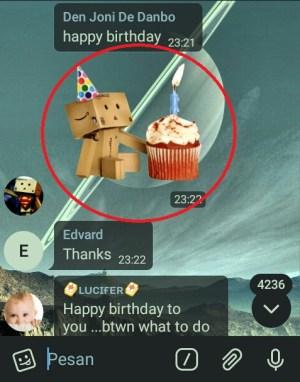 Salah satu contoh sticker yang terdapat dalam grup Telegram