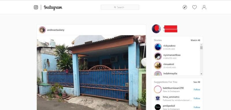 Halaman awal Instagram Web