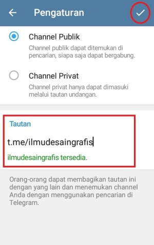 Memilih jenis channel Telegram