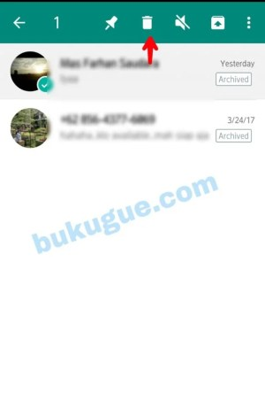 """Gambar 3. Pilih Arsip Pesan yang akan di hapus. Pilih menu bar """"Kotak Sampah"""""""