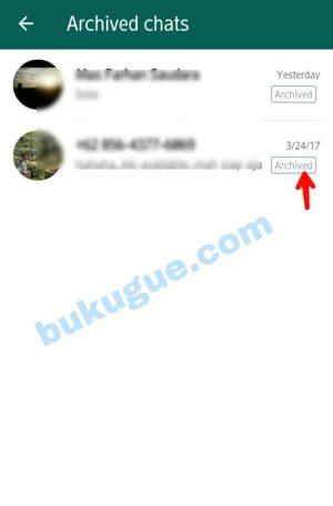 Gambar 2. Laman Archived Chats (Arsip Pesan)
