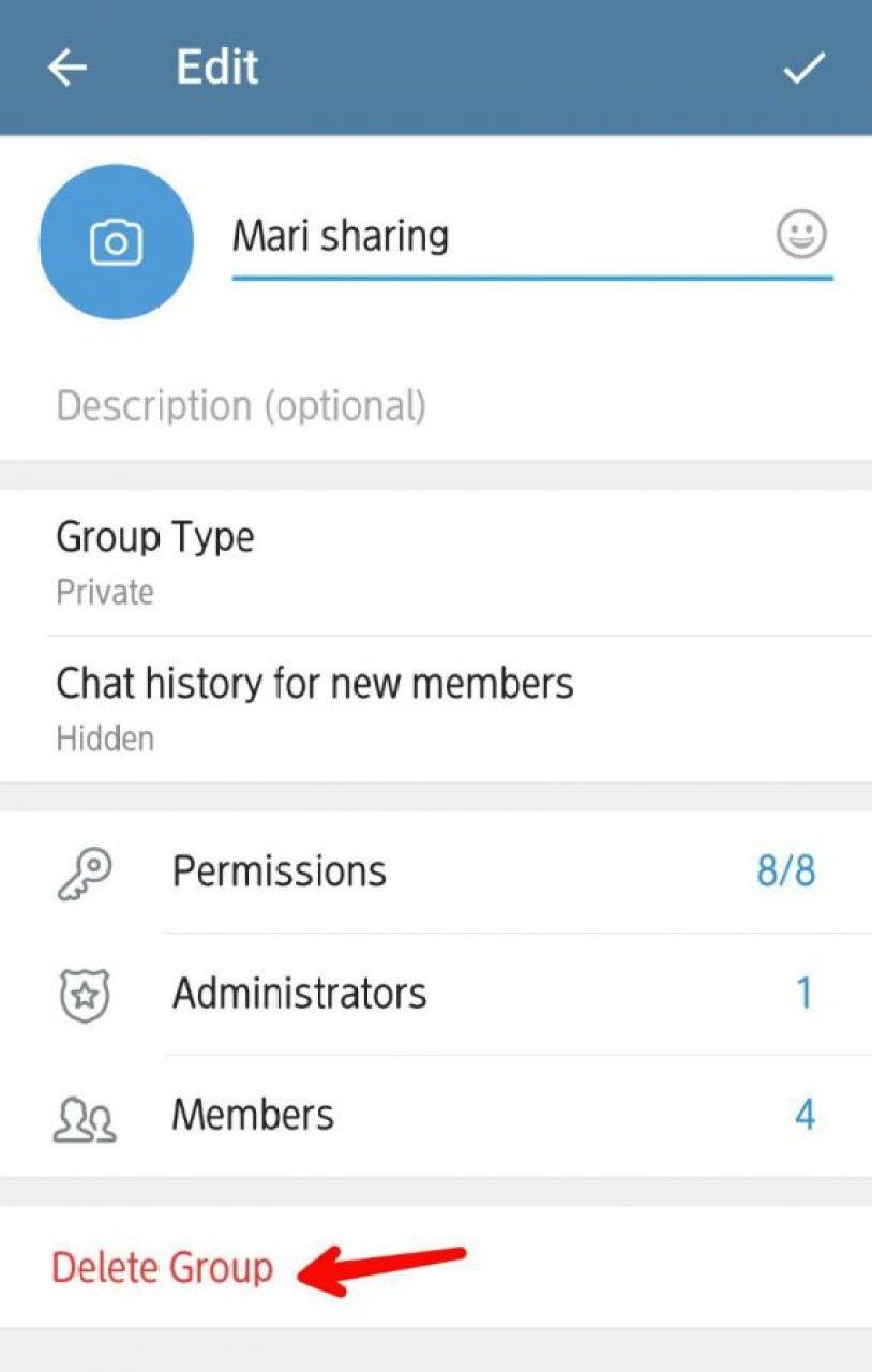 Tap delete group, jika ingin hapus group