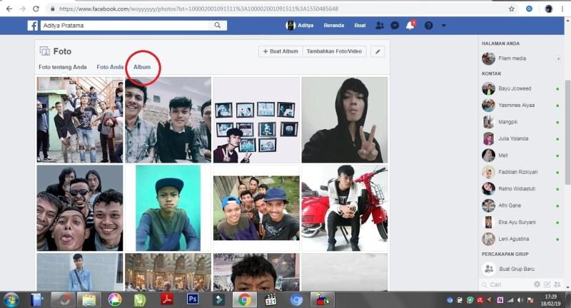 Tampilan pada opsi foto di facebook