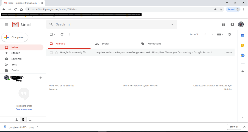 Gmail awal tampak polos