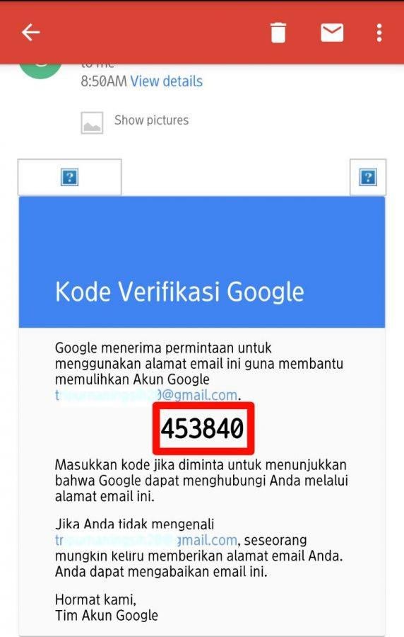 Cek kode verifikasi di email pemulihan