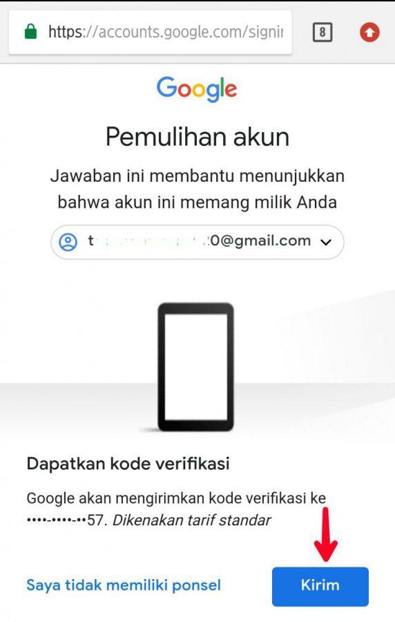 Kode verifikasi melalui nomor ponsel