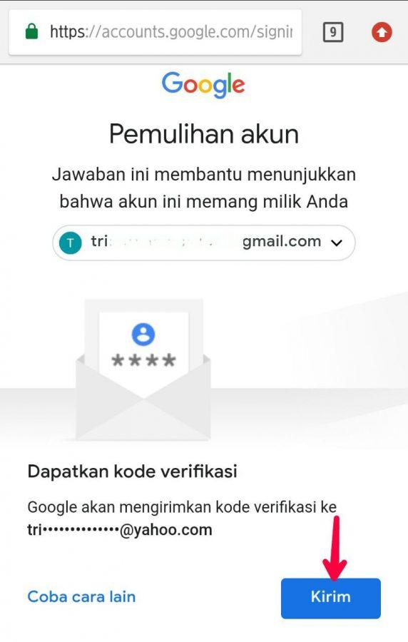 Kode verifikasi melalui email pemulihan
